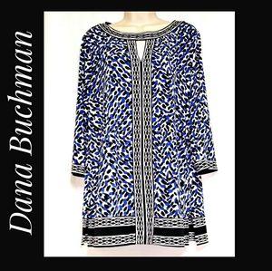 Dana Buchman Tunic Blue Black White Size L